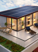 Solar panels on the roof of the penthouse