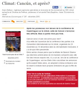 Dec 2010_Alternatives Economique, Climat Cancun et après